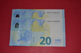 2x 20 Euro M005C4 PORTUGAL - PAREJA RADAR M005 C4 - MC3573498123 / MC3573498132 - NEUF - UNC - EURO