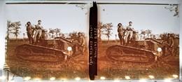 TANK RENAULT A ROULERS CHAR CHENILLE TANKISTE RCC GUERRE 14-18 PHOTOGRAPHIE PLAQUE DE VERRE STEREOSCOPIQUE MILITARIA - Diapositiva Su Vetro