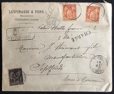 Lettre Chargé à 1000fr Tarif à 0f90c Sage N° 94 X2 & 103 Obl De Villefranche De Rouergue Pour Septfonds - 1876-1898 Sage (Type II)