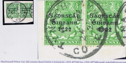 Ireland Galway 1923 Double-ring 'Skeleton' TYNAGH CO GALWAY 24 FE 23 On Thom Saorstat Halfpenny Pair On Piece - Irlande