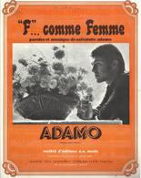 """""""F""""... Comme Femme - Paroles Et Musique Salvadore Adamo - Partition Papier épais Et Glacé - Musik & Instrumente"""