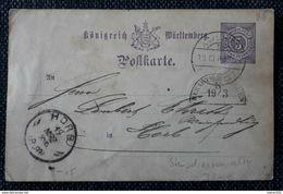 Württemberg 1889, Postkarte Seltener Bogenstempel Gelaufen HORB - Wuerttemberg