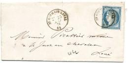 LOIRE LAC 1876 T16 ST GERMAIN LAVAL SUR CERES FIN DU GC - Marcophilie (Lettres)