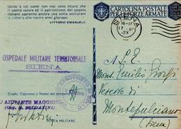 CARTOLINA POSTALE PER LE FORZE ARMATE OSPEDALE MILITARE TERRITORIALE DI SIENA 1942 - 1900-44 Vittorio Emanuele III