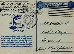 CARTOLINA POSTALE PER LE FORZE ARMATE DEPOSITO UFFICIO MATERIALI DI PISA 1943 - 1900-44 Vittorio Emanuele III