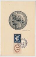 FRANCE - Carte Maximum - 15 F Cérès - Centenaire Du Timbre Poste - PARIS - 11 Juin 1949 - Cartas Máxima