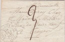 LAC De Saint-Florentin (89) Pour Troyes (10) - 10 Février 1837 - CAD Rond Type 13 - Taxe Manuelle 3 - 1801-1848: Precursori XIX