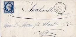 LAC De Saint-Florentin (89) Pour Charleville (08) - 14 Mars 1856 - Timbre YT 14 - CAD 15 + Ob. Los. PC 3063 + Ambulant - 1849-1876: Klassik
