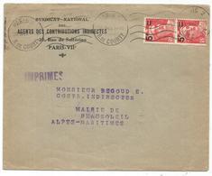 GANDON N°827 PAIRE LETTRE PARIS 28.IV.1949 AU TARIF IMPRIME 2EME - 1945-54 Marianne De Gandon