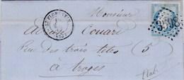 LAC De Saint-Florentin (89) Pour Troyes (10) - 18 Mars 1864 - Timbre YT 22 - CAD Rond Type 15 + Ob. Losange GC 3598 - 1849-1876: Klassik