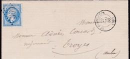 LAC De Saint-Florentin (89) Pour Troyes (10) - 28 Mai 1866 - Timbre YT 22 - CAD Type 15 + Ob. Losange GC 3598 + Ambulant - 1849-1876: Periodo Classico