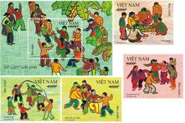 Blocks 4 Of Vietnam Viet Nam MNH Perf Stamps + A MNH Souv. Sheet 2020 : Vietnamese Traditional Children Games (Ms1124) - Vietnam