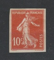 France N°138g* Non Dentelé Semeuse 10c - Francia