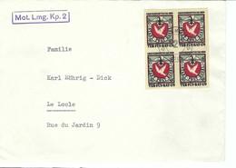 SUISSE Poste Militaire 1939-1940: LSC Avec Bloc De 4 ''Colombe De Bâle'' - Poste Militaire