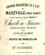 Brasserie De MAXEVILLE  (Près Nancy)  CHARTON  JEUNE   1885 - Lettres De Change