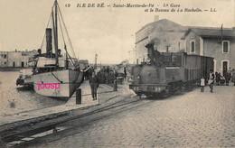 Photo : Ile-De-Re, Saint-Martin, Et Le Bateau De La Rochelle, La Gare, Photo D'une Ancienne Carte Postale, 2 Scans - Trains