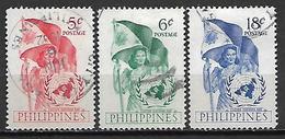 PHILIPPINES   -   1951.    Y&T N° 392 à 394 Oblitérés.    Nations-Unies  /  Drapeau. - Filipinas