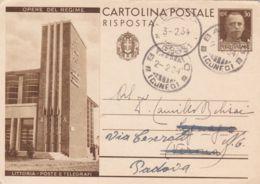 1934 BAROLO C2 (2-2) Su Cartolina Postale RP C.30+c.30 Littoria Posta E Telegrafi Parte Risposta - 1900-44 Victor Emmanuel III
