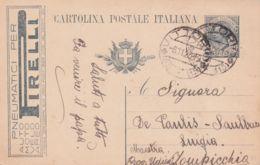 1920 VITTORIO C2 (6.11) Su Cartolina Postale Leoni C.15 Mill 19 Tassello Pubblicitario Pneumatici Pirelli - 1900-44 Victor Emmanuel III