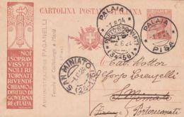 1924 PALAIA C2 (1.8) Su Cartolina Postale Michetti C.30 Con Tassello Noi I Sopravvissuti - 1900-44 Victor Emmanuel III