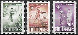 PHILIPPINES   -   Aéro    -  1959.  Y&T N° 55 à 57 *.   Scoutisme .  Cyclistes,  Aéromodélisme . - Filipinas