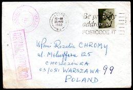 POLAND 1982 SOLIDARITY SOLIDARNOSC PERIOD MARTIAL LAW OCENZUROWANO CENSORED MAUVE CACHETS CENSOR 743 GB GREAT BRITAIN WA - 1944-.... Republik