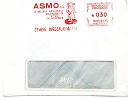 PORC - CHARCUTERIE = 33 BORDEAUX MARNE 1965 = EMA Illustrée D'un COCHON ' Maison Régionale Charcutier '  Machine MG - Alimentation