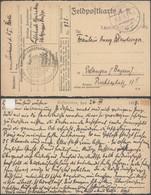 """Bataillon Allemand - Feldpostkarte + """"kaiserliches... Flak-Gruppe Brügge"""" Et K.D. Felpost (1918) > Erlangen - WW I"""