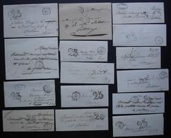 Lot De 15 Lettres Taxées Des Années 1850, Différentes Provenances, Voir Photos (lettres Sans Correspondance) - Lettere Tassate