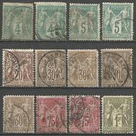 France - Type Sage I - N°63+64+67+69+71+72 Oblitérés - Seconds Choix - 1876-1878 Sage (Type I)