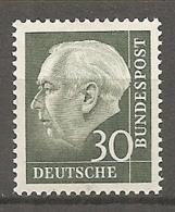 BDP 1956 Yv N° 125Aa Fluo Mi N° 259y  ** MNH  30p  T. Heuss  Cote 28 Euro TBE - Nuovi