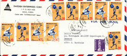Korea South Frontpage Of An Air Mail Cover Sent To Denmark 1972 (not A Cover Only The Frontpage Of The Cover) - Korea (Süd-)