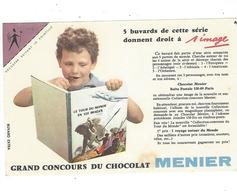 BUVARD  CHOCOLAT  MENIER   N 3 COIN VIOLET       *****       A SAISIR   ****** - Cocoa & Chocolat