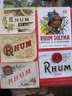 Lot De 5 ETIQUETTES DE RHUM - SPECIMEN (sauf SOLYNA) - IMPRIMERIE LASSERON DEHON à VALENCIENNES - Food