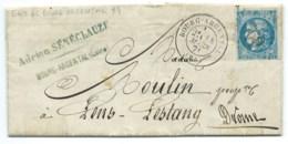 N° 46 B REPORT 2 BLEU CERES SUR LETTRE / BOURG ARGENTAL LOIRE  POUR LENS LESTANG / 1871 / PEPINIERISTE - 1849-1876: Période Classique
