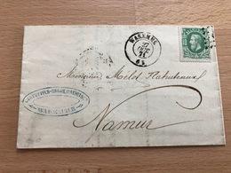 N°30 Pli Commercial De Waremme Vers Namur 27 Oct 1871 6S Banque Et Recouvrement Waremme Cartuyvels-Orban-Mathei Et Cie - 1869-1883 Léopold II