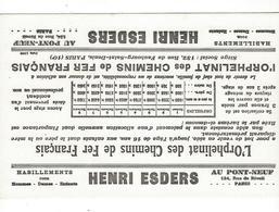 BUVARD  Henri Esders Habillement   ORPHELINAT CHEMINS DE FER  FRANCAIS   *****           A SAISIR   ****** - Textile & Clothing