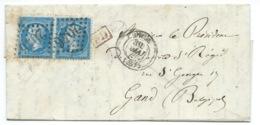 PAIRE N° 22 BLEU NAPOLEON SUR LETTRE / LILLE NORD POUR GAND BELGIQUE / 1865  / ST REGIS - 1849-1876: Période Classique