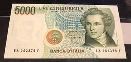 5000 Lire Vincenzo Bellini A 1985  Sup/q.fds LOTTO 1116 - [ 2] 1946-… : République