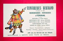 Buvard TEINTURERIES BERTRAND à Épinal, Vosges, Chat Botté - Buvards, Protège-cahiers Illustrés