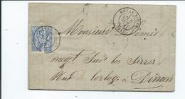 N° YT 78 Sur Lettre De Henan Bihen Cotes D' Armor Pour Dinan 1876 - Marcophilie (Lettres)