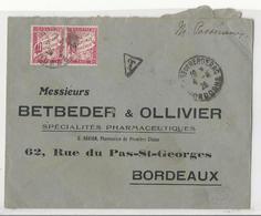 Lettre De Bergerac à Bordeaux - 1926 - Taxée à 80 Cts Par 2 Timbres 40 Cts Rose - 1859-1955 Covers & Documents
