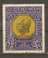 Société Des Nations, Bureau International Du Travail - Haut Commissariat Aux Réfugiés 1928 - 5 Fr.or -  Fiscal - RARE - Flüchtlinge