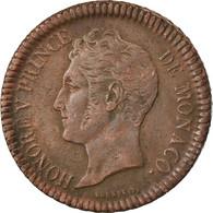 Monnaie, Monaco, Honore V, Decime, 1838, Monaco, TTB, Cuivre, Gadoury:105 - 1819-1922 Honoré V, Charles III, Albert I