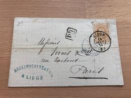N°33 Pli Commercial De Liège Vers Paris 14 Avril 1874 Banque Nagelmackers Et Fils Liège Cachet De L'ambulant Erquelinnes - 1869-1883 Léopold II
