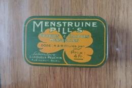 """BOITE MEDICAMENTS """"MENSTRUINE PILL'S"""" QUI CONTIENT ENCORE DES  PILLULES - LABORATOIRE LEQUEUX REUCHIN A AUDINCOURT DOUB - Boxes"""