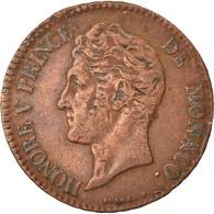 Monnaie, Monaco, Honore V, 5 Centimes, Cinq, 1837, Monaco, TB+, Cuivre - 1819-1922 Honoré V, Charles III, Albert I