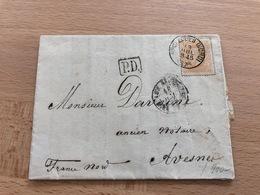 N°33 Pli Commercial De Bruxelles Vers Avesnes (France) 13 Juillet 1875 Cachets D'ambulants Pour Analyse PD F. Dusart Bxl - 1869-1883 Léopold II
