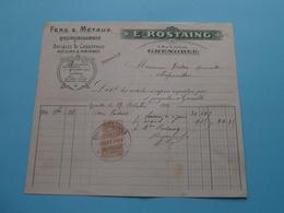 E. ROSTAING Fers & Métaux / Quincaillerie ( Grenoble ) Articles De Chauffage ( Fact. ) Anno 1914 ( Zie/voir Photo) ! - Andere