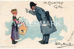 A COUNTRY GIRL OLD COMIC POSTCARD POLICE INTEREST DUDLEY HARDY 1904 - Stripverhalen